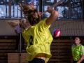 Blokařky Magda Pavlíková a Michaela Dlouhá úspěšně blokují ve finále proti SPŠCH