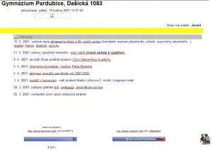 první vzhled webu www.gypce.cz  založeno 25.3.2001