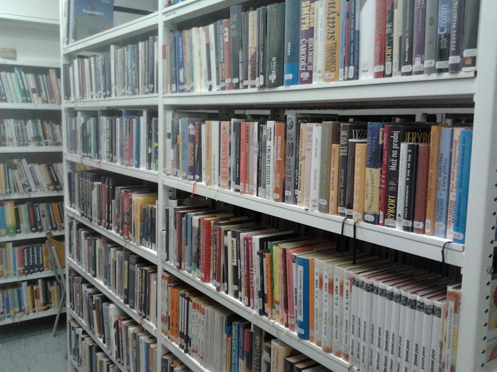 školní knihovna: uvnitř jsou knihy (mnoho knih)