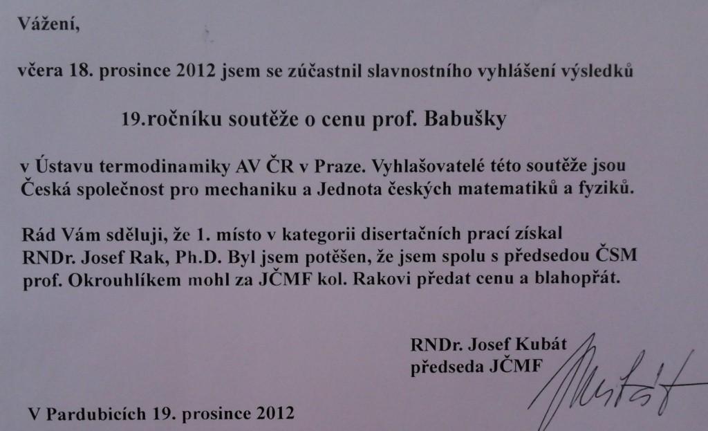 Josef Rak oceněn cenou prof. Babušky
