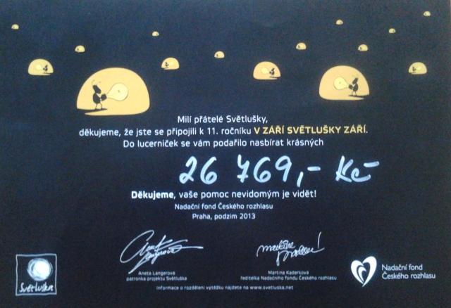 Nadace Svetluska dekuje za 26 769 Kč
